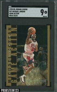 1998 Upper Deck Legend Game Action Gold #G27 Michael Jordan JERSEY# 23/23 SGC 9