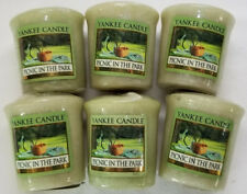 Yankee Candle Votives: PICNIC IN THE PARK Wax Melts Lot of 6 Green Wax New