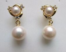 6mm/9mm White Natural Freshwater Pearl Gold Tone 925 Sterling Silver Earrings