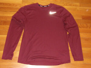 NIKE DRI-FIT LONG SLEEVE BURGUNDY RUNNING JERSEY MENS LARGE EXCELLENT CONDITION