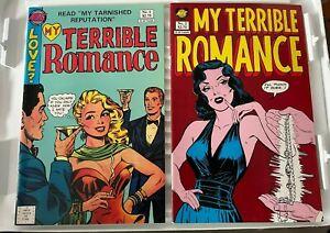 Lot of MY TERRIBLE ROMANCE #1 & #2 Wally Wood art, New England Comics, glossy