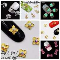 X10 3D NAIL CHARMS, NAIL RHINESTONES, BOW, SKULL, FLOWER, CROWN NAIL ART GEMS