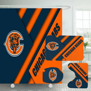 Chicago Bears Bathroom Rugs Set 4PCS Shower Curtain Toilet Lid Cover Bath Mats