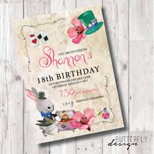 Kids/Adult Madhatter Tea Party Personalised Birthday Invitations x 8