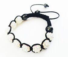 """USA"" Bracelet Rhinestone Crystal Ball Adjustable Handmade Shambala White AB"