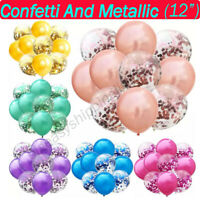 "15 pcs12"" Metallic Pearl Confetti Latex Balloons for Wedding Birthday Party UK"