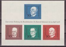 Scott 982 / Germany Michel Block 4: 1968 Adenauer & Churchill Sheet, VF-CDS FDC