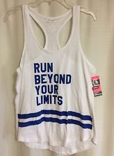 Run Beyond Your Limits Series 8 Runner Tank Top Womens L Large Blue Racer Back