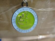 Saint St Christopher Medal PROTECT US surf surfing surfer blue green pendant NEW