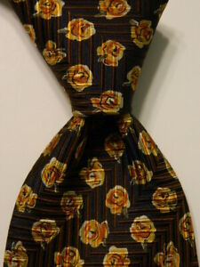 ERMENEGILDO ZEGNA Men's Silk Necktie ITALY Luxury FLORAL Blue/Brown/Yellow EUC