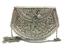 Sling Bag Party wallet Metal clutch silver brass Vintage clutch bag metal Purse