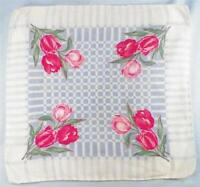 Pink Tulip Flowers Hankie Blue & White Cotton Vintage Retro 1950s