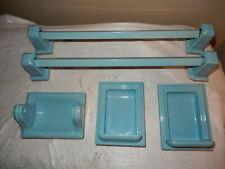 Aqua Blue Deco Bathroom Fixture Set-Towel Bars,Toilet Tissue Holder & Soap Dish