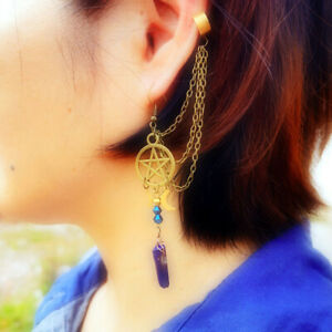 Vintage Pentacle Star Moon Stone Crystal Plated Ear Cuff Stud Chains Earrings