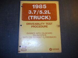 1985 CHRYSLER DODGE 3.7L/5.2L TRUCK  DRIVEABILITY TEST PROCEDURE MANUAL 85