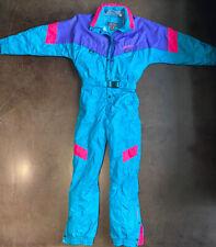 Vintage 80s NEVICA One Piece Ski Suit Snow Bib Retro Snowsuit Womens Sz 8
