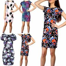 Womens Midi Dresses Ladies Fitted Bodycon Floral Round Neck Cap Sleeve Stretchy