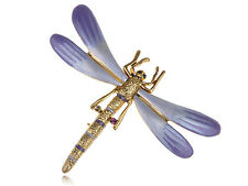 Lady Golden Tone Tiny Dragonfly Lavender Gradient Enamel Crystal Pin Brooch