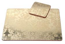 Pimpernel 4 x Damask Gold 30.5cm Placemats & Coasters MDF Cork Back Table Mat