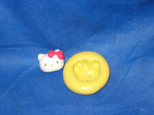 Cat Kitty w Bow Push Mold Flexible Resin Clay Candy Food Safe Silicone  #51