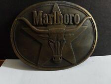 """Vintage 1987 Marlboro Solid Brass 1 1/2"""" Belt Buckle Longhorn Philip Morris Nice"""
