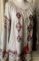 SUNDANCE Blouse Top Floral Embroidered Peasant Aztec Boho Festival Tunic Beaded