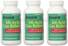 Major Mi-Acid Gas Relief Chews Simethicone 80mg 100ct (3 pack) PHARMACY FRESH!