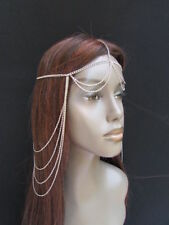 New Women Front Forehead Back Fashion Silver Metal Head Chain Jewelry Extra Long