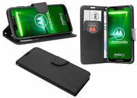 Zubehör für Motorola Moto G7 Play Book-Style Tasche Cover wie ein Buch Schwarz