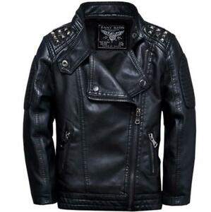 Boys Kids PU Leather Punk Motorcycle Buckle Jacket Zipper Warm Coat Plus Size