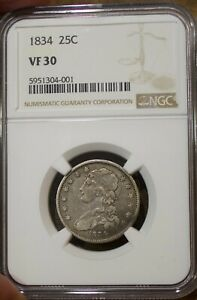 1834 Capped Bust US Silver Quarter NGC VF 30 Rare US Coin Twenty Five Cents