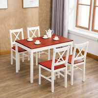 5 Piece Dining Table Set with 4 Chairs Pine Wood Kitchen Dining Room Furniture