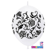 """20ct. WHITE & BLACK DAMASK Link-o-Loon 12"""" Latex Helium Linking Balloons ARCHES"""