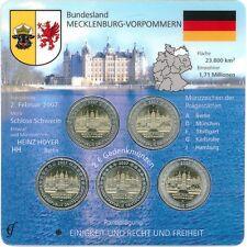 2 Euro Monete Commemorative Castello Schwerin 2007 A D F G J in blister/Folder CCS
