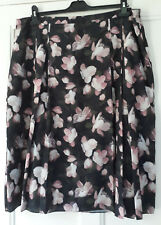 Jaeger Skirt 18 Black Pink Floral Cherry BLossom PLeated Goth Indie L Chiffon