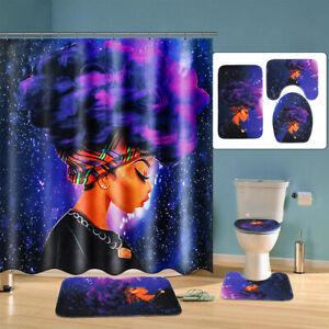 African Girl Waterproof Shower Curtain+Bathroom Bath Mat Lid Toilet Rug Mat Set