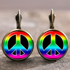 Peace conform Gay Pride Bronze Glass cabochon Lever Back Earrings For Women