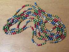 "Vintage Mercury Glass Bead Christmas Tree Garland Miniature Multi Color 102"""