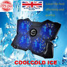 """Ultra Slim USB LED Fans Notebook Laptop Gaming Cooling Pad Stand 12""""-17"""" Size"""