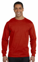 Hanes Men's 100% Cotton Long Sleeve Neck Ribbed Knit Cuffs Basic Tee. 5286