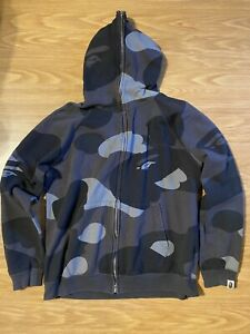 Bape Black Camo Zip Up Hoodie Size L Preowned