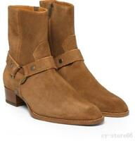 Top Sale Mens Pointed Toe Real Leather Suede Buckle Ankle Cowboy Boots Shoes