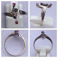 Eleganter Ring aus 585er Weißgold mit Rubin und Saphir Goldring Goldschmuck