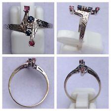 ELEGANTE ANILLO DE 585er oro blanco con rubí y zafiro anillo de Oro Joya de oro