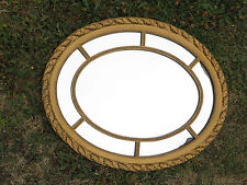 Antique gold finish old wooden oval framed mirror