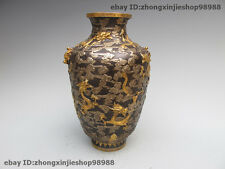 Royal 100% Pure Bronze 24K Gold Silver Nine Dragon to play in the cloud Pot Vase