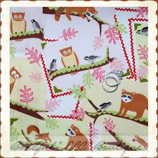BonEful FABRIC FQ Cotton Quilt Baby Tree Animal Owl Raccoon Bird Possum Squirrel