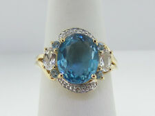 Estate Blue/Colorless Topaz Diamonds Solid 10K Yellow Gold Ring FREE SIZING