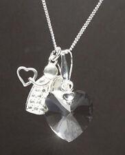 Echt Silber 925 Hals-Kette mit Swarovski® Kristall Herz Herzkette +Engel +Box