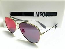 Authentic Alexander McQueen AM0057S 004 Gold/Blue Mirror Lens 62mm Sunglasses